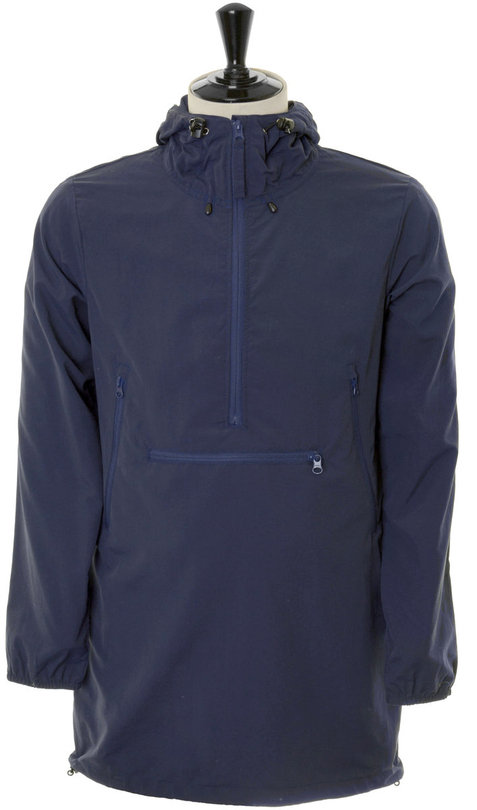 Woven Windshed Long Anorak - Dark Navy