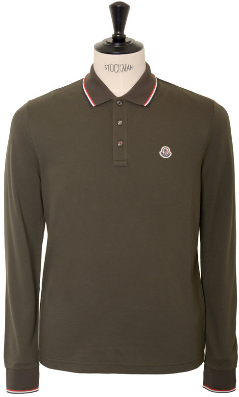 17b85f07ce49 Moncler Long Sleeved Tricolour Tipped Polo - Military Green ...