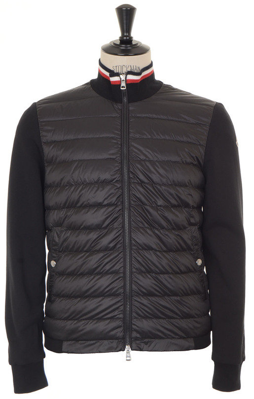 Quilted Front Jersey Jacket - Black