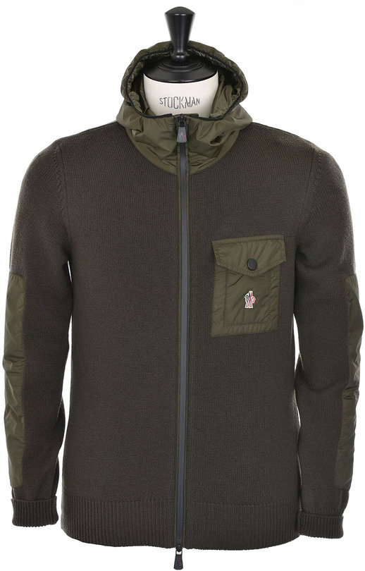 Moncler Grenoble Hooded Cardigan - Military Green