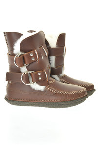 View the Twin Strap Shearling Ring Boot - Light Bean online at Kafka