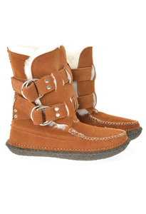 View the Twin Strap Shearling Ring Boot - Cognac Suede online at Kafka