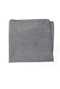 View the Cotton Flax Herringbone Pocket Square - Blue online at Kafka