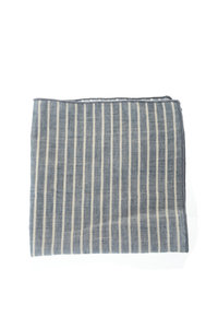 View the Cotton Flax Stripe Pocket Square - Blue online at Kafka