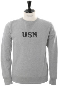 View the USN Hand Embroiderey Sweat - Mix Grey online at Kafka