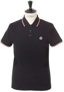 View the Moncler Tricolour Tipped Polo - Black online at Kafka
