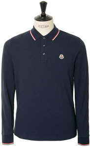 View the Moncler Long Sleeved Tricolour Tipped Polo - Navy online at Kafka