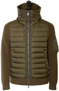 View the Hooded Quilted Down Knitted Cardigan -  Military Green online at Kafka