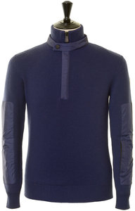 View the Lupetto Knit Zip Sweater - Blue online at Kafka