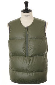 View the Down Zip Vest - Olive online at Kafka
