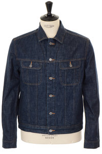 View the Flynn Shearling Denim Jacket - Indigo online at Kafka