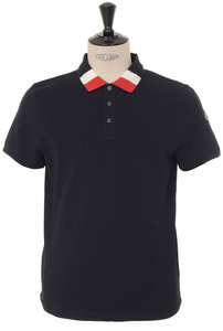 View the Tricolour Tipped Polo - Navy online at Kafka