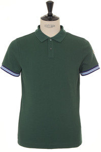 View the Logo Sleeved Trim Polo - Green online at Kafka