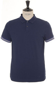View the Logo Sleeved Trim Polo - Navy online at Kafka