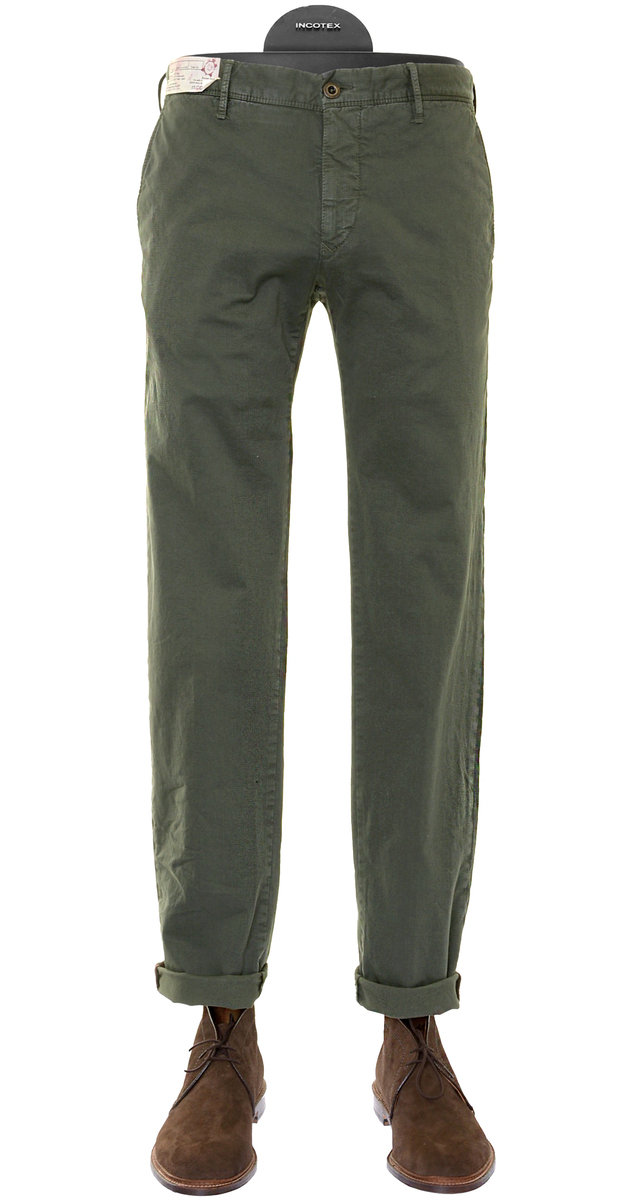 Pantalon En Coton Olive Modelées Incotex naWxTEA